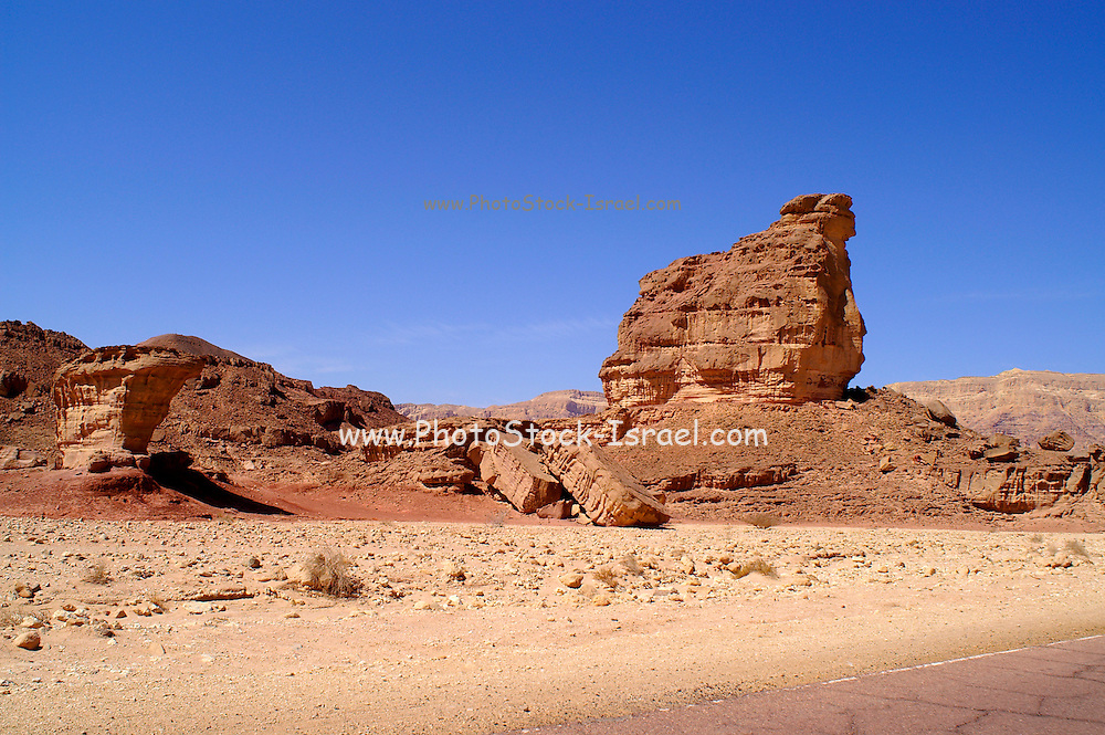 Natural Rock formations,Timna natural and historic park, Israel, The Timna Valley is located in the southwestern Arava, some 30 km. north of the Gulf of Eilat. The traces of ancient civilizations are, too, very interesting to look at in Timna. Copper mining was known there at least from the 18th century B.C. Later Egyptians, who conquered the area, made Timna a very important source of copper. There are many ancient copper mines in the valley, some look like holes in the ground, others are caves hewn in stone; in some places, there are remains of copper-smelting ovens. There is a place where you can see Egyptian rock drawings. At the foot of Solomon's pillars there are remains of an Egyptian temple, and above them are two figures, one of them a pharaoh, engraved in stone by Egyptians.