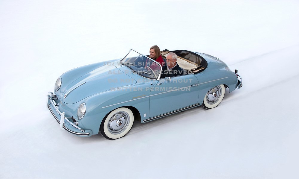 Image of a 1958 Porsche 356 Speedster in the snow in Missoula, Montana, Pacific Northwest, property released by Randy Wells