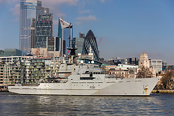 © Licensed to London News Pictures. 06/02/2020. London, UK. HMS Tyne leaves central London on the River Thames passing City skyscrapers following a three day central London visit. HMS Tyne is one of the three River-class patrol ships built to safeguard the fishing stocks and enforce national and EU fisheries legislation within British Fishery Limits, including protecting and patrolling in the Strait of Gibraltar. Along with HMS Severn and HMS Mersey, the fleet of three make up the Fishery Protection Squadron – the 'Cod Squad' – the oldest unit in the Royal Navy. Photo credit: Vickie Flores/LNP