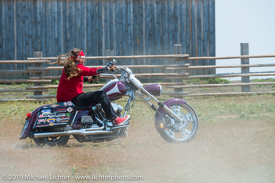 Kevin Bean're Doebler rides the rodeo arena at the Spur Creek Ranch on highway 79 north of Sturgis during the annual Sturgis Black Hills Motorcycle Rally. SD, USA. August 3, 2014.  Photography ©2014 Michael Lichter.