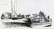 Coal pit-head scene near Newcastle, England, in the late 18th cewntury.