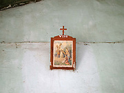 A religious picture on the wall in the old Catholic church in Song Duu Kayan ethnic minority village in Kayah State, Myanmar on 15th November 2016