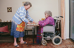Carer assisting elderly woman; who is wheelchair user; by preparing meal,
