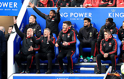 Manchester United caretaker manager Ole Gunnar Solskjaer (second left) reacts from the bench during the Premier League match at the King Power Stadium, Leicester.