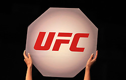 A ring girl holds up a UFC sign during UFC Fight Night 147 at The O2 Arena, London.