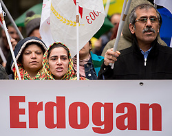 April 26, 2017 - Brussels, Bxl, Belgium - Kurds hold the protest in front of Turkish embassy  in Brussels, Belgium on 26.04.2017 Protestors demand to stop bombing in Rojava, the region of Turkey by Wiktor Dabkowski (Credit Image: © Wiktor Dabkowski via ZUMA Wire)
