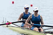 Poznan, POLAND, 21st June 2019, Friday, Morning Heats, USA. W2-/2 (b) BAKER Allyson and (s) HUELSKAMP Emily, FISA World Rowing Cup II, Malta Lake Course, © Peter SPURRIER/Intersport Images,<br /> <br /> 10:13:58