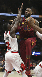 October 24, 2017 - Cleveland, OH, USA - The Cleveland Cavaliers' LeBron James (23) drives the the hoop and draws a foul against the Chicago Bulls' Jerian Grant (2) during the first quarter on Tuesday, Oct. 24, 2017, at Quicken Loans Arena in Cleveland. (Credit Image: © Phil Masturzo/TNS via ZUMA Wire)