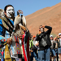 051514  Adron Gardner/Independent<br /> <br /> Tee Willie of Manuelito Canyon leads an honor dance for Run for the Wall participants at Red Rock Park Thursday.