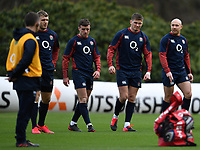 Rugby Union - 2020 Six Nations Championship - England Training Session & Press Conference pre-Ireland<br /> <br /> Ollie Thorley, George Ford, Owen Farrell and Willi Heinz, at Pennyhill Park Hotel.<br /> <br /> COLORSPORT/ASHLEY WESTERN