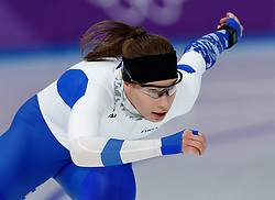 February 18, 2018 - Gangneung, South Korea - Speed skater Elina Risku of Finland competes during the Ladies Speed Skating 500M finals at the PyeongChang 2018 Winter Olympic Games at Gangneung Oval on Sunday February 18, 2018. (Credit Image: © Paul Kitagaki Jr. via ZUMA Wire)