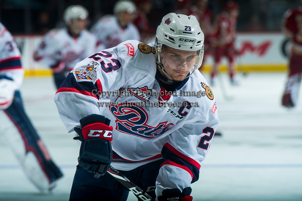 REGINA, SK - MAY 20: Sam Steel #23 of Regina Pats warms up against the Acadie-Bathurst Titan at the Brandt Centre on May 20, 2018 in Regina, Canada. (Photo by Marissa Baecker/CHL Images)