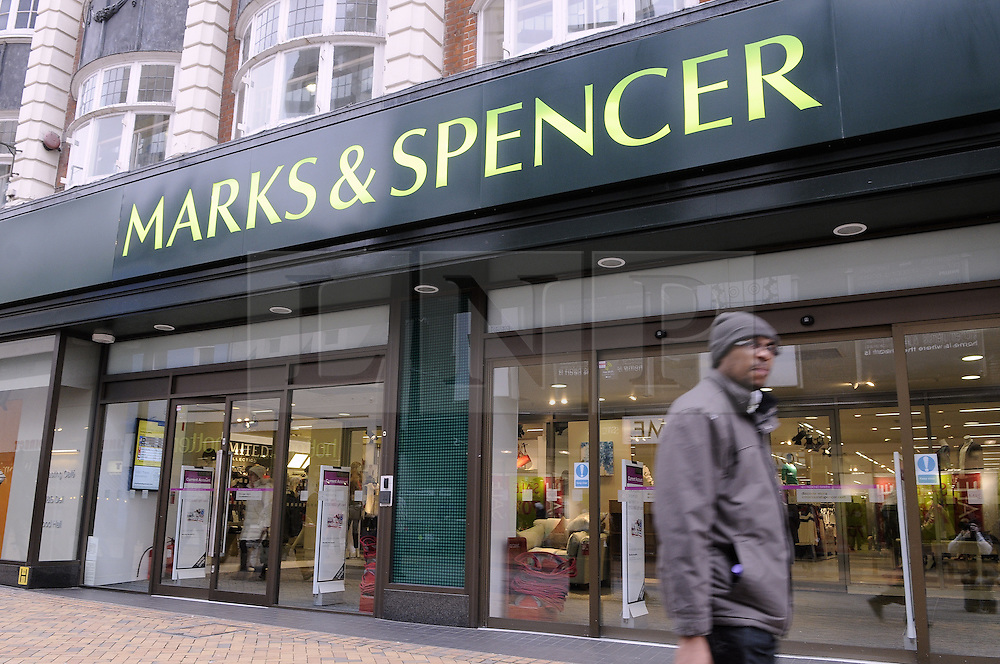 © Licensed to London News Pictures. 010/01/2013.Marks and Spencer Store Bromley,South East London..M&S Clothing sales down over Christmas period..The retailer posted a 3.8 per cent fall in clothing sales - 0.3 per cent worse than forecast. But its food sales were up 0.3 per cent and online sales up 10.8 per cent. Chief executive Marc Bolland  was forced to rush out the disappointing sales update after details leaked by the media. .Photo credit : Grant Falvey/LNP