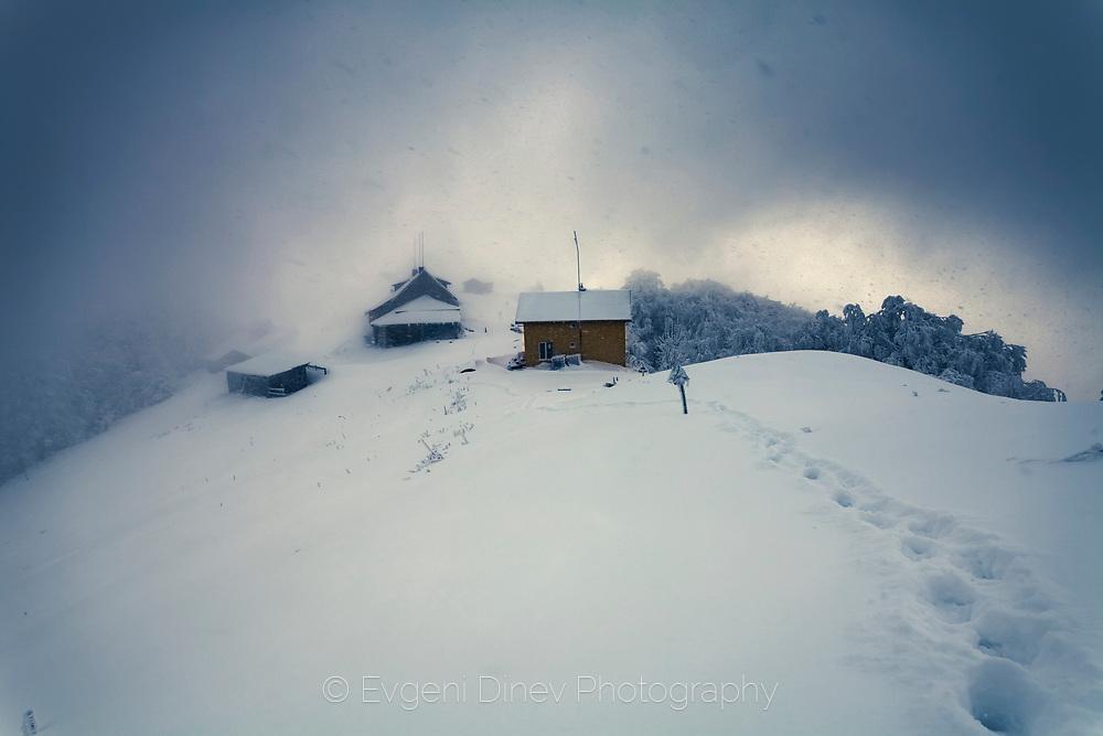 Winter blizzard in the mountain