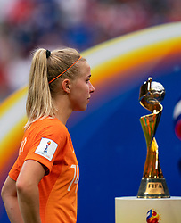 07-07-2019 FRA: Final USA - Netherlands, Lyon<br /> FIFA Women's World Cup France final match between United States of America and Netherlands at Parc Olympique Lyonnais. USA won 2-0 / Jackie Groenen #14 of the Netherlands World Cup Trophy
