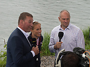 Lucerne, SWITZERLAND.<br /> <br /> left , Sir Matthew PINSENT and Right Sir Steven REDGRAVE, interview, Helen GLOVER. centre. 2016 FISA WCII. Lake Rotsee<br /> <br /> Sunday  29/05/2016<br /> <br /> [Mandatory Credit; Peter SPURRIER/Intersport-images]