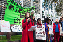 London, UK. 17 October, 2019. Alexa Waud addresses fellow campaigners from Fuel Poverty Action (FPA), residents in uninsulated homes and climate activists protest outside the Ministry of Housing, Communities and Local Government (MHCLG) before delivering a letter signed by FPA, 80 organisations, trade unions and MPs in just ten days precisely one year after a strongly worded letter about the urgency of recladding flammable buildings and insulating those that are cold was delivered to the Government department. Commitments made by the MHCLG in response to the original letter have not been met. Credit: Mark Kerrison/Alamy Live News