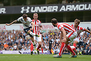 Ryan Mason of Tottenham Hotspur takes a shot on goal. Barclays Premier league match, Tottenham Hotspur v Stoke city at White Hart Lane in London on Saturday 15th August 2015.<br /> pic by John Patrick Fletcher, Andrew Orchard sports photography.
