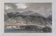The island of Madeira colour print from the book ' A Picturesque Voyage to India by Way of China  ' by Thomas Daniell, R.A. and William Daniell, A.R.A. London : Printed for Longman, Hurst, Rees, and Orme, and William Daniell by Thomas Davison, 1810. The Daniells' original watercolors for the scenes depicted herein are now at the Yale Center for British Art, Department of Rare Books and Manuscripts,