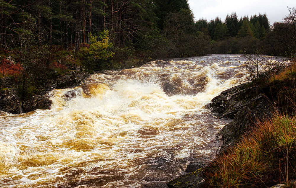 The river Orchy in full spate tears its way towards Loch Awe