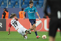 November 23, 2017 - Russia - defender Hovhanes Hambardzumjan of FC Vardar and midfielder Aleksander Yerokhin of FC Zenit during UEFA Europa League Football match Zenit - Vardar. Saint Petersburg, November 23,2017 (Credit Image: © Anatoliy Medved/Pacific Press via ZUMA Wire)