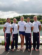 Reading, Great Britain, GBR W4X left to right, Beth RODFORD, Debbie FLOOD, Frances HOUGHTON, Annie VERNON and Mel WILSON.  2011 GBRowing World Rowing Championship, Team Announcement.  GB Rowing  Caversham Training Centre.  Tuesday  19/07/2011  [Mandatory Credit. Peter Spurrier/Intersport Images]