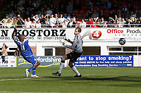 Photo: Steve Bond/Richard Lane Photography. Hereford United v Leicester City. Coca Cola League One. 11/04/2009. Lloyd Dyer (L) stabs the ball past keeper Peter Gulacsi to put Leicester in front