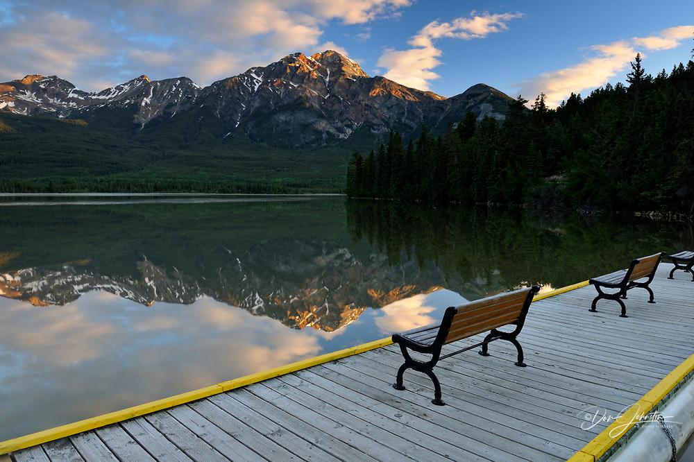 Reflections in Pyramid Lake at dawn- Pyramid Lake resort, Banff National Park, Alberta, Canada