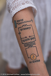 Tesla schematic diagram arm tattoo Sunday outside the Handbuilt Motorcycle Show. Austin, TX, USA. April 10, 2016.  Photography ©2016 Michael Lichter.