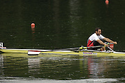 2006 FISA World Cup, Lucerne, SWITZERLAND, 07.07.2006. Men's Single Sculls, EGY M1X, Mostafa EL BESTAWAY.  Photo  Peter Spurrier/Intersport Images email images@intersport-images.com.[Friday Morning]...[Mandatory Credit Peter Spurrier/Intersport Images... Rowing Course, Lake Rottsee, Lucerne, SWITZERLAND.