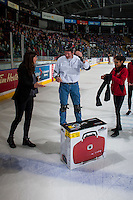 KELOWNA, CANADA - FEBRUARY 13: Fans take part in intermission entertainment on February 13, 2017 at Prospera Place in Kelowna, British Columbia, Canada.  (Photo by Marissa Baecker/Shoot the Breeze)  *** Local Caption ***
