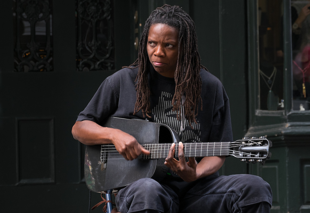 NEW ORLEANS - CIRCA FEBRUARY 2014: Street musician performing in the streets of famous French Quarter in New Orleans
