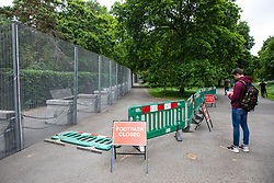 © Licensed to London News Pictures. 29/05/2019. London, UK. Security fencing is installed around Winfield House, the US Ambassador's residence in central London, where President of the United States Donald Trump and his wife Melania Trump will host a dinner during their forthcoming State Visit to the United Kingdom. Photo credit: Rob Pinney/LNP
