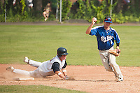 Big Blue's Jake Broom makes the out on Post 21's Braden Smith then looks for the double play at 1st at Memorial Field on July 4th.  (Karen Bobotas/for the Concord Monitor)