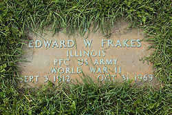 31 August 2017:   Veterans graves in Park Hill Cemetery in eastern McLean County.<br /> <br /> Edward W Frakes Illinois PFC US Army World War II Sept 3 1912 Oct 31 1969