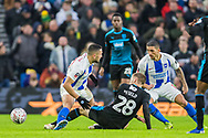Sam Field (West Brom) on the ground between Florin Andone (Brighton) & Anthony Knockhaert (Brighton) during the FA Cup fourth round match between Brighton and Hove Albion and West Bromwich Albion at the American Express Community Stadium, Brighton and Hove, England on 26 January 2019.