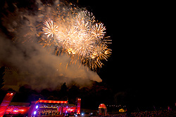Virgin Money Fireworks Concert closes the 2016 Edinburgh International Festival with over 4 tonnes of explosives and 400,000 fireworks choreographed to live orchestral music will light up the sky against the iconic backdrop of Edinburgh Castle, in what is the largest annual fireworks concert in the world. Around 250,000 people gather annually in Princes Street and at vantage points around Edinburgh, Fife and the Lothians to share in the spectacle.<br /> 29th August, 2016, (c) Brian Anderson   Edinburgh Elite media
