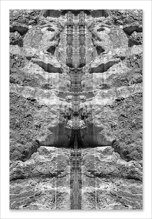 Abstract rocks reflection. Black and white fine art image.