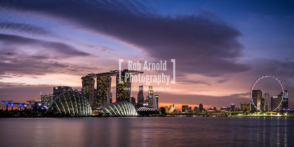 Sunset over the skyline in Singapore