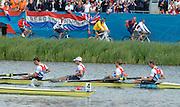 Eton Dorney, Windsor, Great Britain,..2012 London Olympic Regatta, Dorney Lake. Eton Rowing Centre, Berkshire[ Rowing]...Description;   Men's Lightweight Fours, Peter CHAMBERS (b) , Rob WILLIAMS (2) , Richard CHAMBERS (3) , Chris BARTLEY (s). (s)  .Dorney Lake. 12:15:41  Thursday  02/08/2012.  [Mandatory Credit: Peter Spurrier/Intersport Images]...Venue, Rowing, 2012 London Olympic Regatta...