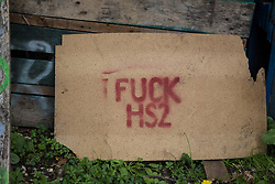 A sign at HS2 Rebellion's Denham Protection Camp is pictured on 7 September 2020 in Denham, United Kingdom. Anti-HS2 activists continue to try to prevent or hinder works on the controversial £106bn high-speed rail link for which the start of the construction phase was announced on 4th September from a series of protection camps based along the route of the line between London and Birmingham.