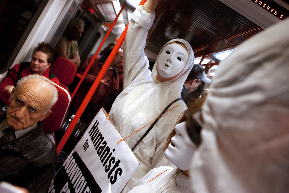 """Members of an organisation called """"Humanist Movement"""" travelling from the Vysehrad metro station, close to the Prague Congress Centre, where the EU-US summit with Barack Obama took place."""