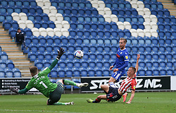 Ben Stevenson of Colchester United scores a goal to make it 1-0 - Mandatory by-line: Arron Gent/JMP - 03/10/2020 - FOOTBALL - JobServe Community Stadium - Colchester, England - Colchester United v Oldham Athletic - Sky Bet League Two