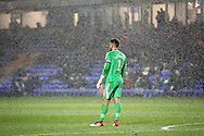 Oxford United's goalkeeper Simon Eastwood (1) in the rain during the EFL Sky Bet League 1 match between Peterborough United and Oxford United at London Road, Peterborough, England on 8 December 2018.