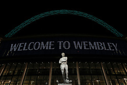 """A view of the Statue of Bobby Moore outside Wembley before the Premier League match between Tottenham Hotspur and Manchester City. PRESS ASSOCIATION Photo. Picture date: Monday October 29, 2018. See PA story SOCCER Tottenham. Photo credit should read: Nick Potts/PA Wire. RESTRICTIONS: EDITORIAL USE ONLY No use with unauthorised audio, video, data, fixture lists, club/league logos or """"live"""" services. Online in-match use limited to 120 images, no video emulation. No use in betting, games or single club/league/player publications."""