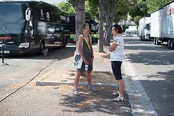 Sharon Laws chats to Wiggle Hi5 Cycling Team DS Donna-Rae Szalinski before La Course High Speed Pursuit 2017 - a 22.5 km pursuit road race on July 22, 2017, in Marseille, France. (Photo by Balint Hamvas/Velofocus.com)