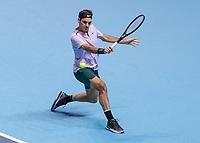 Tennis - 2017 Nitto ATP Finals at The O2 - Day Five<br /> <br /> Group Boris Becker Singles: Roger Federer (Switzerland) Vs Marin Cilic (Croatia)<br /> <br /> Roger Federer (Switzerland) with a backhand return at the O2 Arena<br /> <br /> COLORSPORT/DANIEL BEARHAM