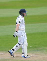 James Adams of Hampshire celebrates scoring his century  - Mandatory byline: Dougie Allward/JMP - 07966386802 - 11/09/2015 - Cricket - County Ground -Taunton,England - Somerset CCC v Hampshire CCC - LV=County Championship - Day 3