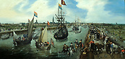 The Departure of a Dignitary from Middelburg by Adriaen Pietersz van de Venne (c. 1589-1662) oil on panel, 1615.  The warship De Zeehondt is being towed to sea from the harbour of Middelburg by four muscular draught horses.  The identity of the departing person who is drawing so much attention from a multitude of low and high-ranking people is unknown.  However, it must have been someone of standing, for even Stadtholder Maurice's yacht is present; it fires a salute.