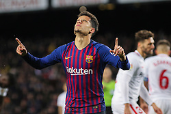 January 30, 2019 - Barcelona, BARCELONA, Spain - Coutinho of Barcelona celebrating a goal during Spanish King championship, football match between Barcelona and Sevilla, January  30th, in Camp Nou Stadium in Barcelona, Spain. (Credit Image: © AFP7 via ZUMA Wire)
